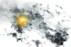 Fumée texturisée avec la lumière du soleil, noir abstrait, d'isolement sur b blanc Image stock