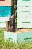 Fumador de la abeja en el colmenar Imagen de archivo