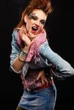 Fumage punk de fille de Glam Photo stock