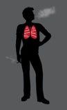 Fumar é mau para sua ilustração do homem da saúde ilustração royalty free