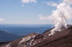 Fumarole active volcano. Active volcano of Tongariro National Park in New Zealand Royalty Free Stock Photo