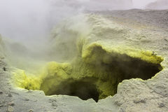 Fumarole activity in crater of Mutnovsky volcano. Stock Photography