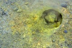 Fumarole activity in crater of Mutnovsky volcano. Stock Image
