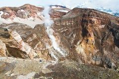 fumarole Aktywny wulkan Goreliy na Kamchatka, Rosja Obrazy Stock