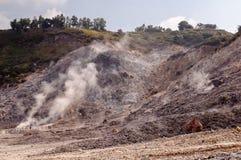Fumarole and crater walls of active vulcano Solfatara Royalty Free Stock Photo