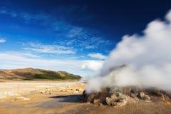 Fumarole Field in Namafjall Geothermal Area, Hverir, Iceland Stock Image