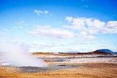 Fumarole field in Namafjall, Iceland. royalty free stock photo