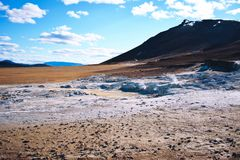 Fumarole field in Namafjall, Iceland. royalty free stock images