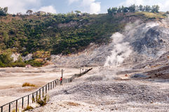 Fumarole and inside crater view of active vulcano Solfatara Stock Photography