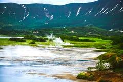 Fumarole pola na powulkanicznej kalderze Uzon Kamchatka, Rosja Fotografia Stock