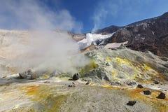 Fumarole svavelfält i aktiv vulkan för krater av Kamchatka Arkivfoto