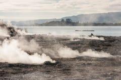 Fumarolen am See Rotorua stockbild