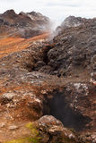 Fumaroles in lava fields Leirhnjukur volcano, Iceland Stock Photos