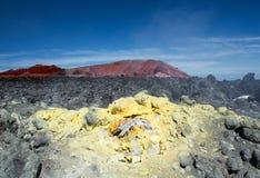Fumarolic fält på en vulkan 2 arkivbild