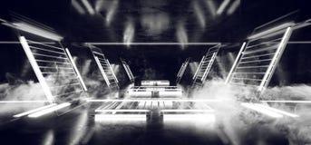 Fume a construção Hall Grunge Glossy Concrete Futuristic que a ficção científica esvazia a sala moderna reflexiva escura da  ilustração stock