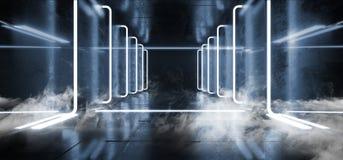 Fume a construção Hall Grunge Glossy Concrete Futuristic que a ficção científica esvazia a sala moderna reflexiva escura da  ilustração do vetor