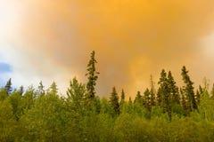 Fume de un fuego en los territorios del noroeste imagen de archivo