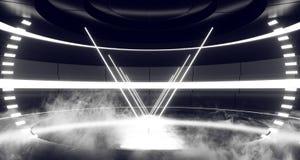 Fume el espectro fluorescente de la etapa de Hall Glowing White Neon Lights del sitio extranjero moderno futurista de Sci Fi del  ilustración del vector