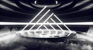 Fume el espectro fluorescente de la etapa de Hall Glowing White Neon Lights del sitio extranjero moderno futurista de Sci Fi del  stock de ilustración