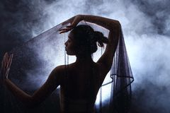 Fume el labio oscuro del pelo negro de Tan Skin Asian Woman con mullido denso Imagenes de archivo
