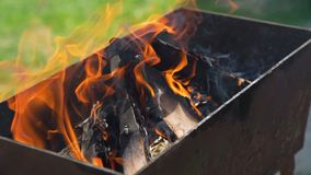 Fume and Firewood Outdoor. Burning Charcoals and Firewood in the Brazier before Preparing Meat on Grill. Leisure, Food, Family and Holidays Concept stock video footage