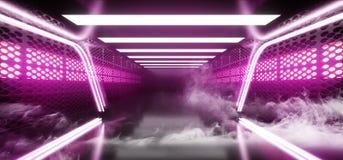 Fume la etapa vibrante fluorescente de Hall Glowing Purple Neon Lights del sitio extranjero moderno futurista de Sci Fi del fondo libre illustration