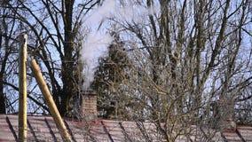 Fume saindo da chaminé da casa de campo com o telhado do metal na floresta filme