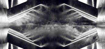 Fume a sala concreta de incandescência de néon Hall Empty do corredor do túnel da reflexão do Grunge da nave espacial estrangeira ilustração royalty free