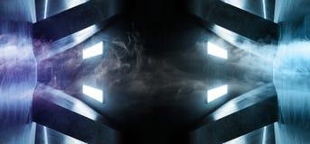 Fume a sala concreta de incandescência de néon Salão do corredor do túnel da reflexão do Grunge da nave espacial estrangeira retr ilustração do vetor