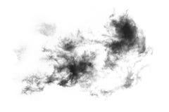 Fumée texturisée, noir abstrait, d'isolement sur le fond blanc Photos stock