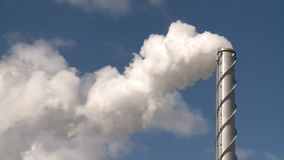 Fumes billow,smoke stack,air pollution,energy generation stock footage