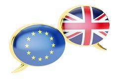 Fumetti, concetto di conversazione di EU-UK rappresentazione 3d Immagini Stock