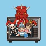 Fumetti dei caratteri dei videogiochi sulla vecchia TV Immagine Stock Libera da Diritti