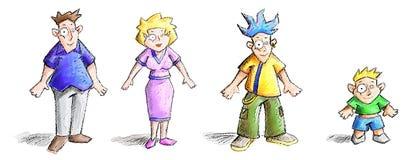 Fumetti della famiglia illustrazione di stock