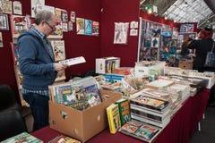 Fumetti su esposizione alla convenzione di Festival del Fumetto a Milano, Italia Fotografie Stock