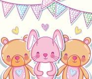 Fumetti svegli degli orsi e del coniglietto royalty illustrazione gratis
