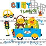 Fumetto animale divertente del bus della città, illustrazione di vettore illustrazione di stock