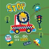 Fumetto animale divertente del leone e del taxi, illustrazione di vettore royalty illustrazione gratis