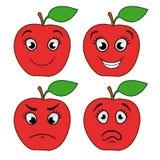 Fumetto Apple con le emozioni Fotografia Stock Libera da Diritti