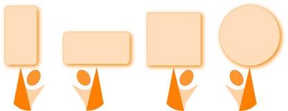 Fumetto arancione con le figure arancioni della geometria Immagine Stock
