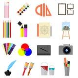 Fumetto Art Color Icons Set Vettore Fotografia Stock