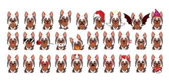 Fumetto australiano di Terrier serico del cane Grande insieme di piccoli cani differenti royalty illustrazione gratis