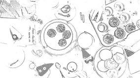 Fumetto in bianco e nero: La riunione della tavola della famiglia con il tè ed i muffin fanno colazione stock footage