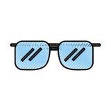 Fumetto blu degli occhiali da sole dello scarabocchio Fotografia Stock