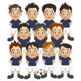 Fumetto blu stabilito della squadra di calcio Immagine Stock Libera da Diritti