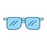 Fumetto blu sveglio degli occhiali da sole Immagine Stock