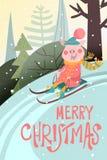 Fumetto, carta divertente di Buon Natale con il porcellino sulla slitta della slitta, paesaggio di inverno con l'iscrizione di Bu Immagine Stock