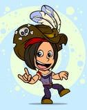 Fumetto che balla il carattere castana della ragazza del pirata illustrazione vettoriale