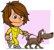 Fumetto che cammina il carattere castana della ragazza con il cane illustrazione di stock