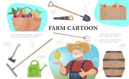 Fumetto che coltiva composizione illustrazione di stock